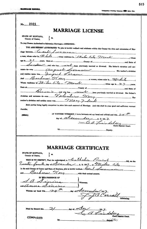 Montana Marriage Records Karl Gideon Svensson