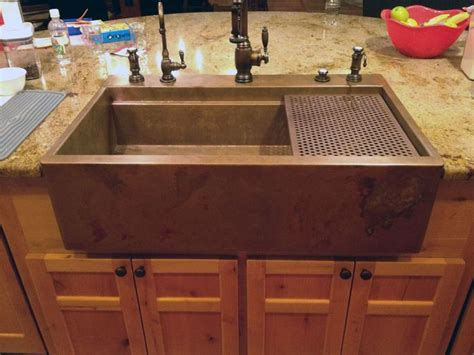 mountain rustic farm front copper kitchen sink mountain copper copper sink with drying rack where i wish to cook