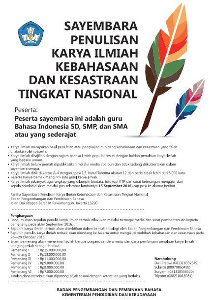 Bahasa Indonesia Penulisan Dan Penyajian Karya Ilmiah Sri Hapsari W lomba penulisan karya ilmiah kebahasaan dan kesastraan dalam memperingati bulan bahasa dan