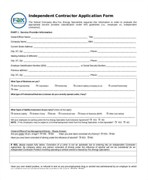 11 Contractor Application Forms Free Sle Exle Format Download Independent Contractor Form Template
