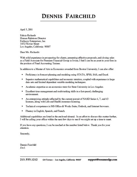 Finance Student Cover Letter Sles Financial Sales Cover Letter