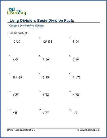 Division Practice Worksheets by Grade 4 Math Worksheet Division Basic Division