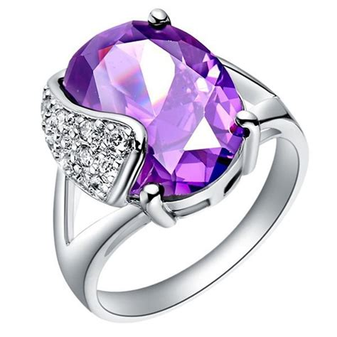 Promo Cincin Berlian Ring Emas Putih 44 batu biru bijoux anillo amatista cincin ungu simulasi perhiasan berlian cincin emas