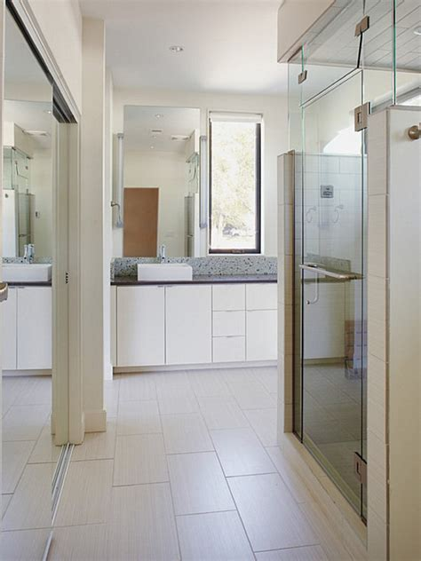 closet bathroom modern spaces with mirrored closet doors