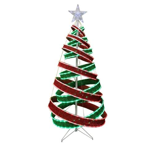 holiday living 5 ft spiral ribbon led outdoor christmas