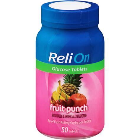 Tablet Relion relion fruit punch glucose tablets 50 count walmart