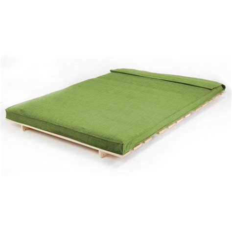 fold futon lime double 2 seater fabric complete futon wood base