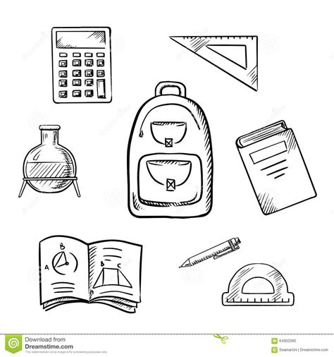 Sketches School by School Sketch Icons With Education Supplies Stock Vector