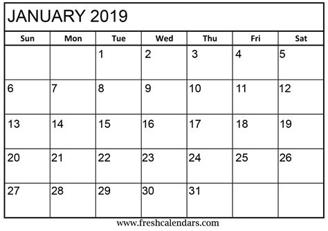 january calendar printable fresh calendars