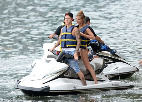 water scooter san diego hailey baldwin holds tightly to justin bieber as the pair