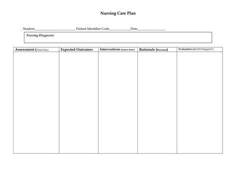 nursing care plan template free best photos of sle care plan template nursing care