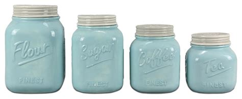 kitchen canisters and jars zallzo 4 ceramic jar canister set blue