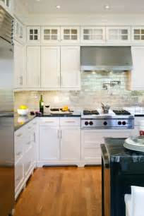 Kitchen Backsplashes With White Cabinets by Iridescent Backsplash Transitional Kitchen Benjamin