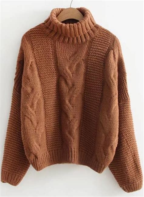 High Neck Cable Knit Sweater high neck cable knit pullover sweater novashe