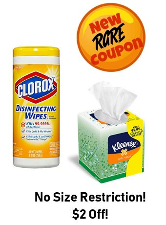 rare   clorox wipes kleenex coupon