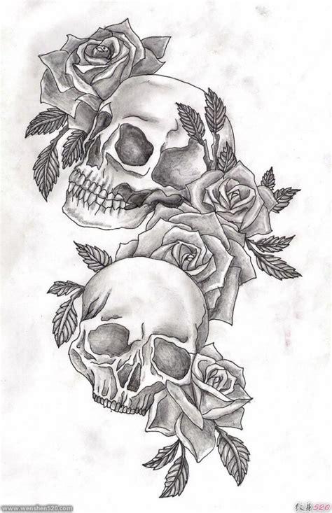多款黑灰色骷髅头和玫瑰花纹身图案手稿素材第2页