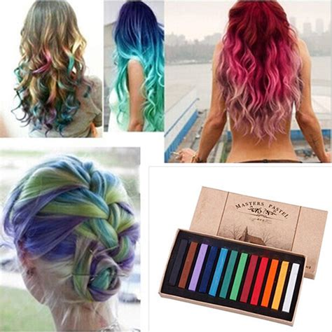 chalk paint your hair 12 colors fast temporary pastel hair diy salon painting