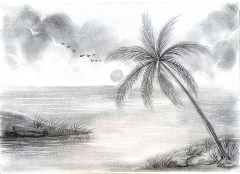 Home Flower by Natural Image With Pencil Drawing Natural Sceneries Pencil