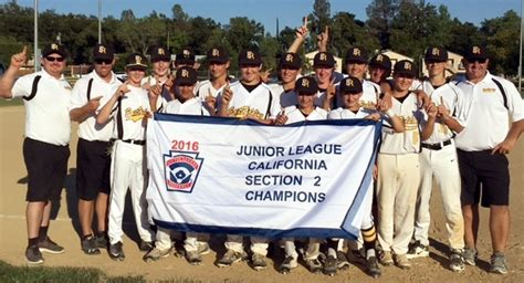 section 2 little league california east redding little league s junior all stars win section