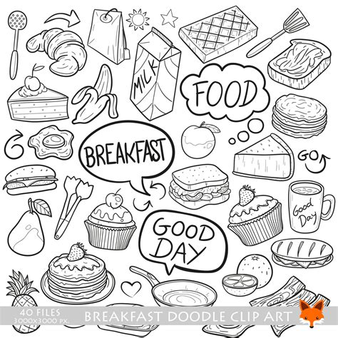 fast doodle breakfast lunch fast food launch cooking doodle icons clipart