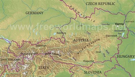 physical map of austria austria physical map