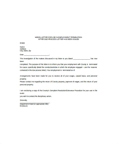 termination letter template free search results for employee termination letter
