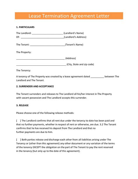 tenant termination lease agreement rental letter sle