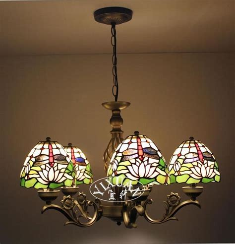 Glass Bulb Chandelier Style 5 Bulb Ceiling L Dragonfly E27 Light Stained Glass Chandelier Ebay