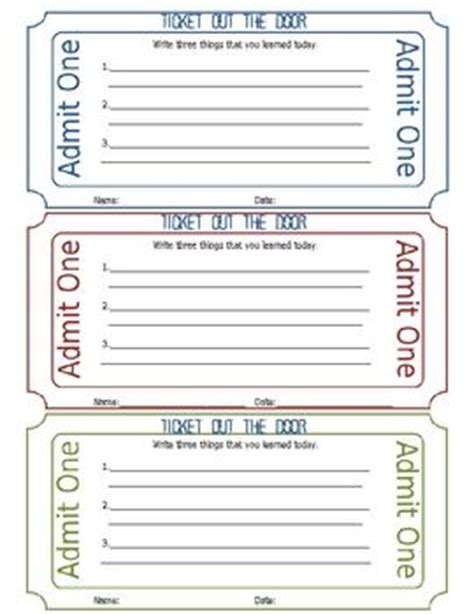 printable entrance tickets ticket out of the door printable each day behavior