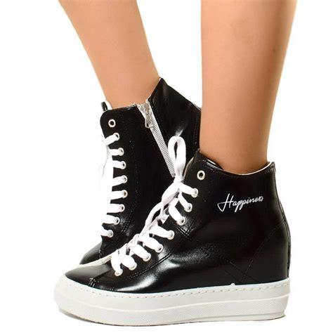 scarpe zeppa interna scarpe donna nere happiness made in italy kikkiline