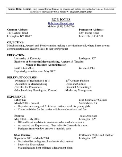 resume format for retail resume sles for retail free resumes tips