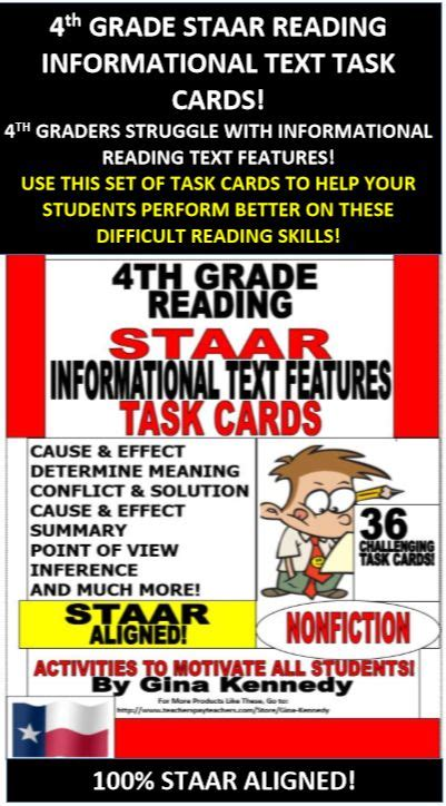 Fourth Grade Staar Writing Test by 4th Grade Staar Reading Skills Task Cards 30 Passages In All Cause And Effect