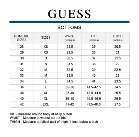 Jean size conversion chart