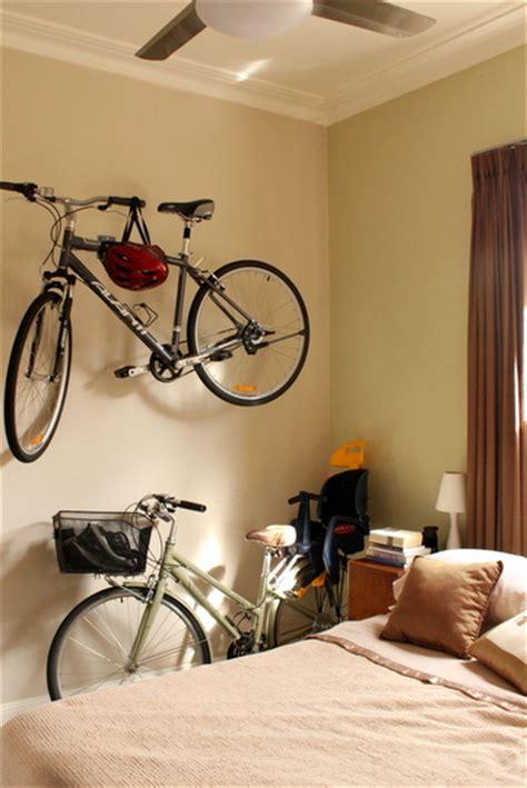 indoor bicycle storage bedroom wall feature