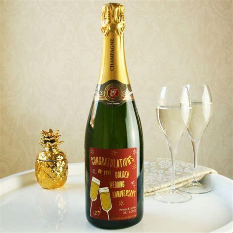 golden wedding anniversary champagne gift by bottle bazaar