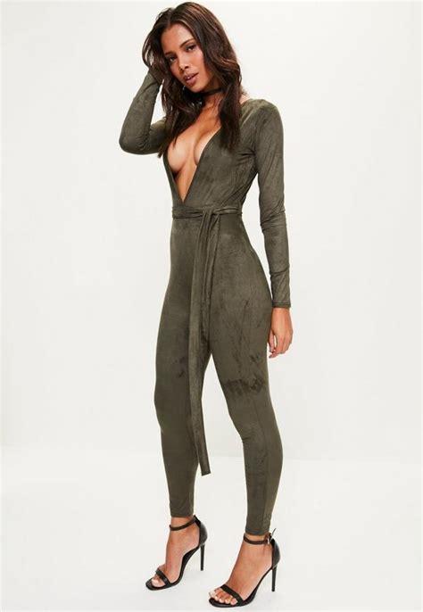 Swedi Jumpsuit khaki sleeve plunge faux suede jumpsuit missguided