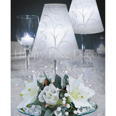 12 Centerpieces WINE GLASS Lamp SHADE Silk Flower Rings