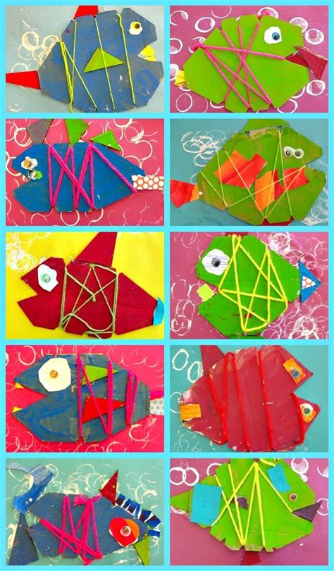 painting for kindergarten cardboard fish project yarns fish and weaving