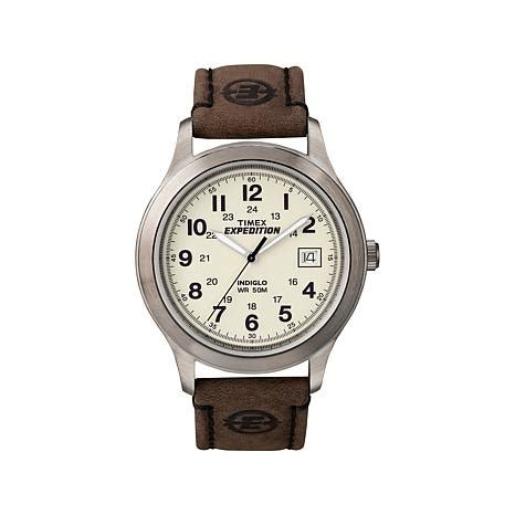 Expedition Time E6396 Black Leather Brown For Original timex s expedition gunmetal tone brown leather 7944466 hsn