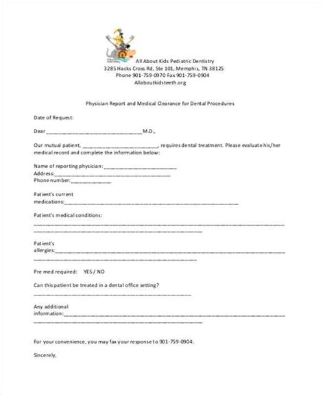 Medical Clearance Form Resume Template Sle Clearance For Dental Treatment Template