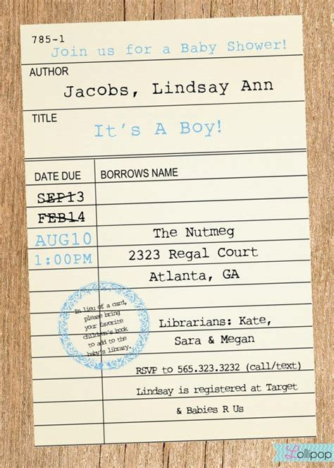 library card insert template printable library card baby shower invitation these would