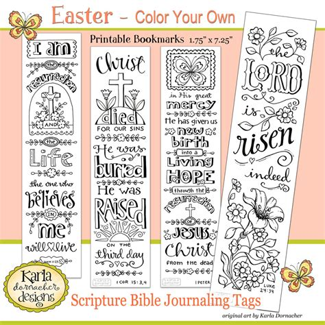 free printable easter bookmarks to color easter color your own bible journaling bookmarks