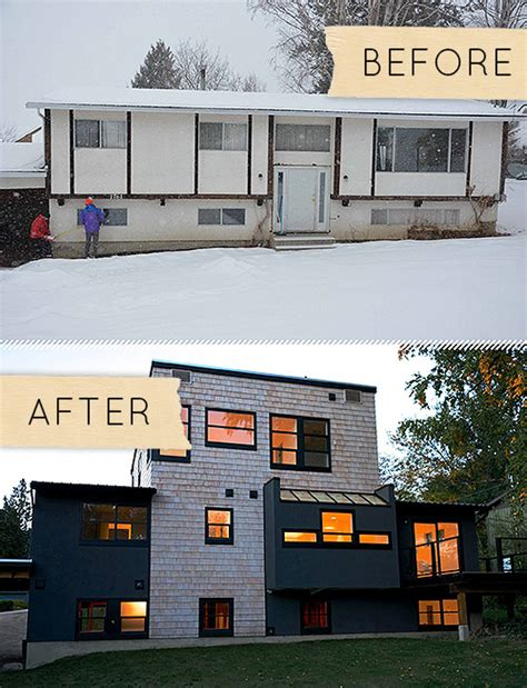 split level exterior remodel before and after split level