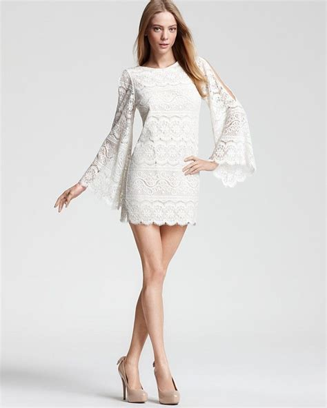 Bell Sleeve Lace Dress bell sleeve lace dress in white dresses style