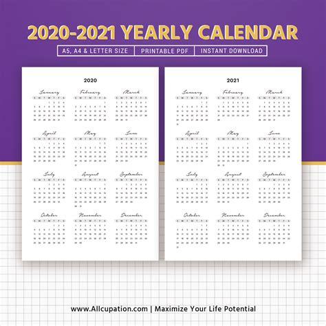 yearly calendar year   glance printable calendar  planner planner printable