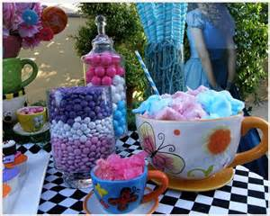 Disney alice in wonderland party dessert table and candy buffet