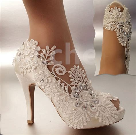 Wedding Shoes With by 3 Quot 4 Quot Heel Satin White Ivory Lace Pearls Open Toe Wedding