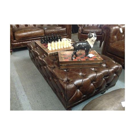 Leather Footstool Coffee Table Buy Chesterfield Vintage Leather Footstool Retro Coffee Tables