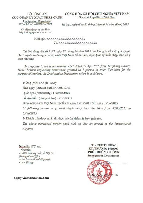 Bank Approval Letter For Visa Visa On Arrival Approval Letter Vietnamsvisa