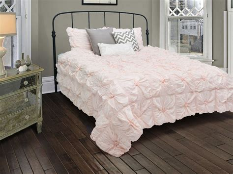 pale pink bedding rizzy home plush dreams light pink comforter bed set